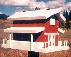 Hay Barn Bird Feeder: Red, White trim