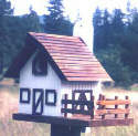 Dairy Barn Birdhouse: Green, Maple trim