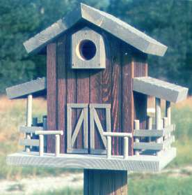 Hay Barn Birdhouse: Teak, Gray trim